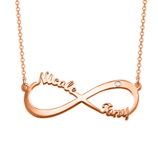 "925 Sterling Silver Personalized Infinity Charm Necklace With Zircon  Adjustable 16""-20"""
