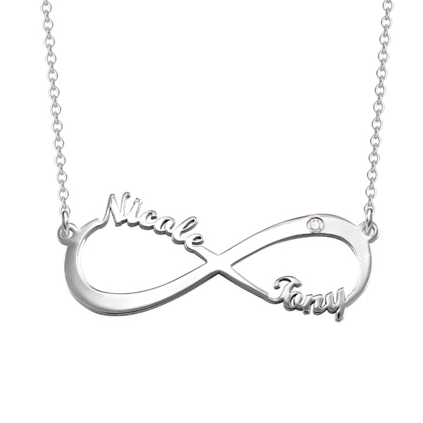 "925 Sterling Silver Personalized Infinity Charm Necklace With Zircon  Adjustable 16""-20"
