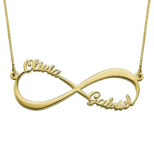 "925 Sterling Silver Personalized Infinity Necklace With Two Name  Adjustable 16""-20"""