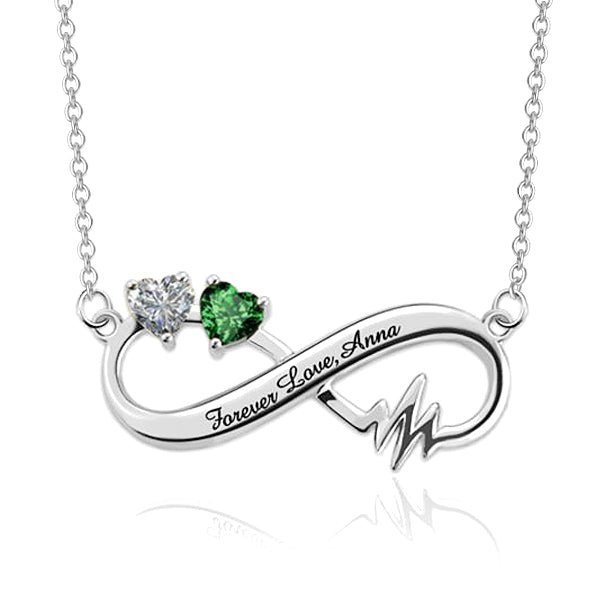 925 Sterling Silver Personalized Heartbeat Infinity Necklace With Birthstones