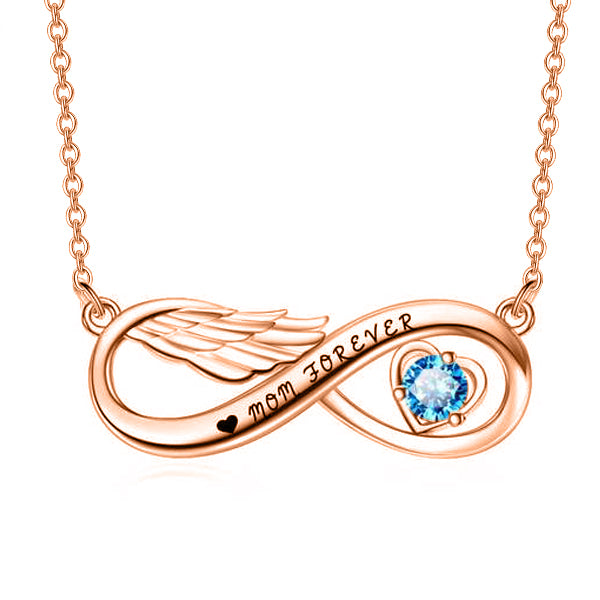 "yafeini Custom Name Necklace Personalized Jewelry Copper 925 Sterling Silver Adjustable 16""-20"" - Infinity Angel Wing  With Birthstone"