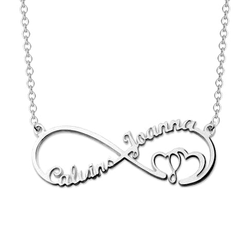 "Copper/925 Sterling Silver Personalized Infinity Heart In Heart Necklace Adjustable 16""-20"""