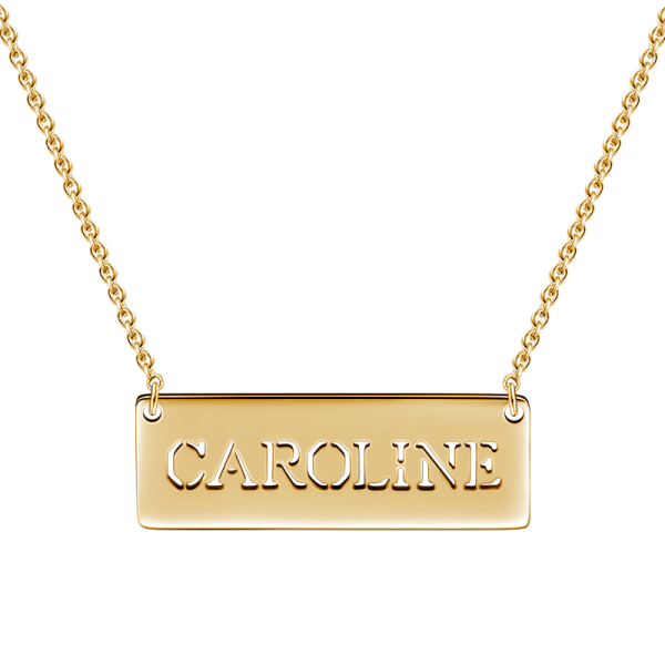 "14K Gold Personalized Hollow Name Necklace Adjustable 16""-20"""