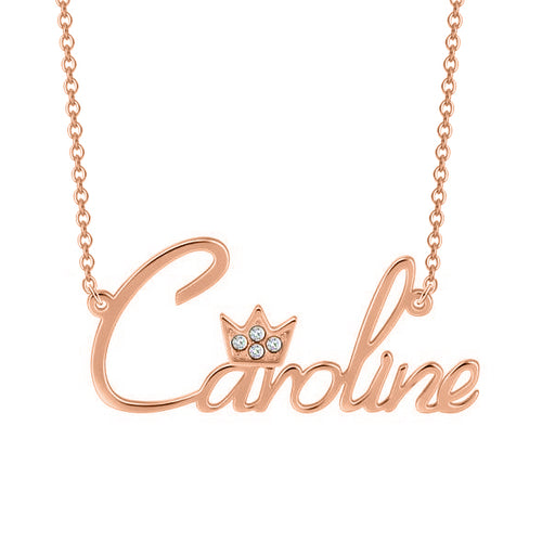 """Caroline""Style 10K/14k Gold Crystal Inlay Name Necklace Adjustable Chain - White Gold/Yellow Gold/Rose Gold"