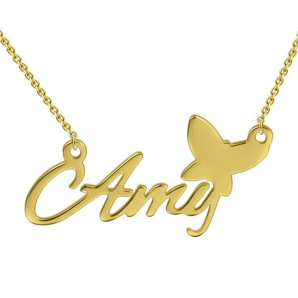 """Amy""Style 14K Personalized  Name Necklace Adjustable 16""-20""-White Gold/Yellow Gold/Rose Gold"