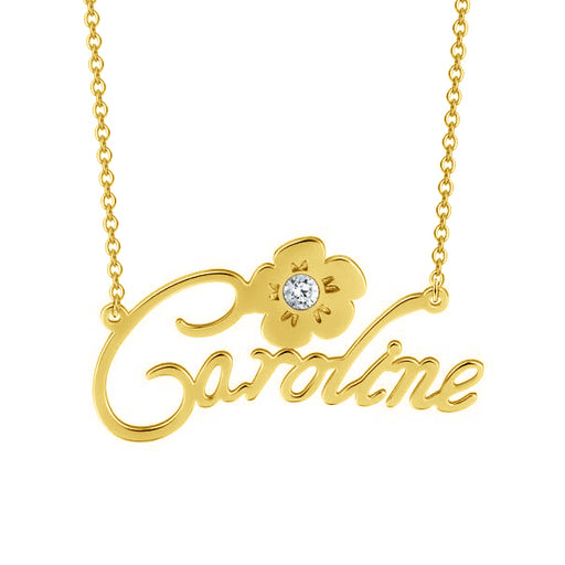 Caroline - Personalized Sterling Silver Name Necklace With Swarovski Crystal- 14K Gold Plated