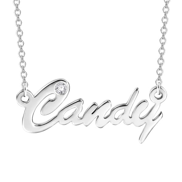 "0.02ct Natural 10K/14K Gold Personalized Diamond Inlay Name Necklace Adjustable 16""-20""-White Gold/Yellow Gold/Rose Gold"