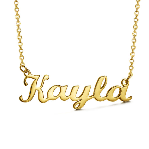 "Kayla - Copper/925 Sterling silver/10K/14K/18K Personalized Any Name Choker Necklace Adjustable 16""-20"" Yellow Gold Plated"