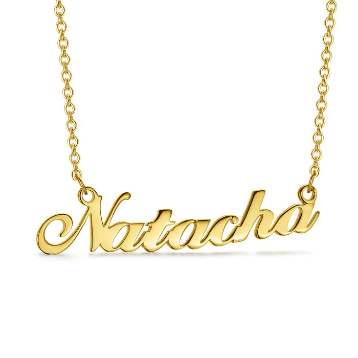 "Natacha - 925 Sterling Silver Personalized Name Necklace 16""-20"" Adjustable Chain White Gold Plated"