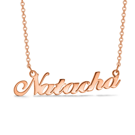"Natacha - Copper/925 Sterling Silver Personalized Name Necklace 16""-20"" Adjustable Chain White Gold Plated"