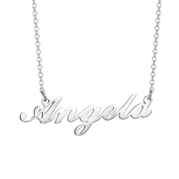 "Angela - 925 Sterling Silver/10K/14K/18K Personalized Name Necklace Adjustable Chain 16""-20"""
