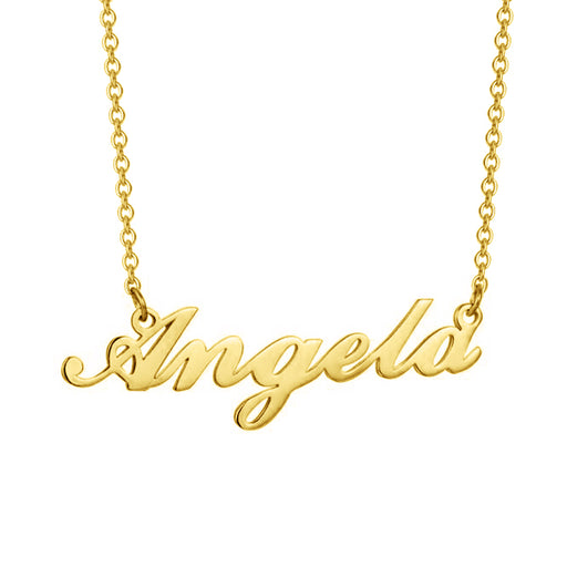 "Angela - Copper/925 Sterling Silver/10K/14K/18K Personalized Name Necklace Adjustable Chain 16""-20"""