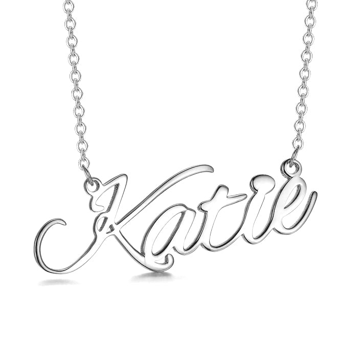 Katie - 925 Sterling Silver/10K/14K/18K Personalized Classic Name Necklace-Rose Gold/Yellow Gold/White Gold Plated
