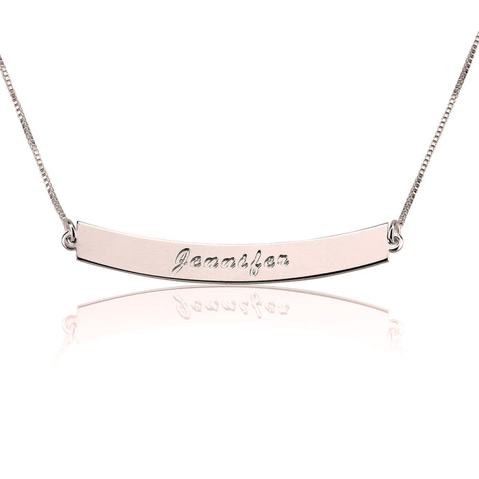 "Copper/925 Sterling Silver Personalized Bar Necklace Adjustable 16""-20"""