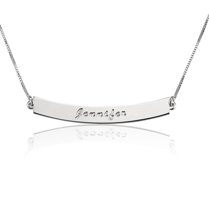 "925 Sterling Silver Personalized Bar Necklace Adjustable 16""-20"""
