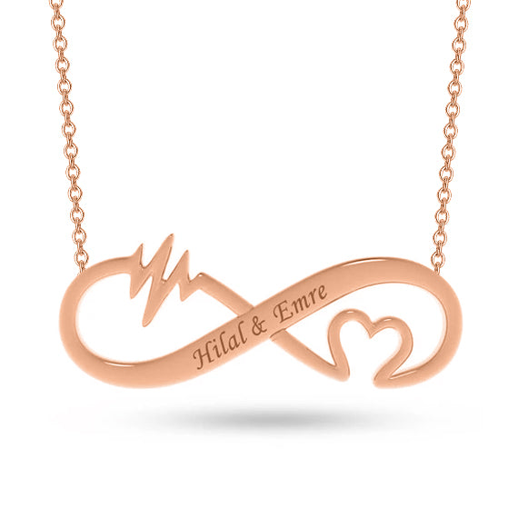 Copper/925 Sterling Silver Personalized Infinity Heart Rate Name Necklace-Rose Gold/Yellow Gold/White Gold Plated