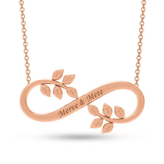Copper/925 Sterling Silver Personalized Infinity Leaf  Name Necklace-Rose Gold/Yellow Gold/White Gold Plated