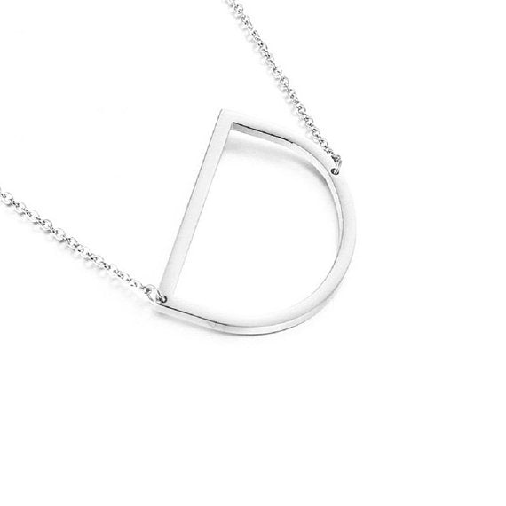 Letters A-Z Copper Personalized Initial Script Necklace -White Gold Plated