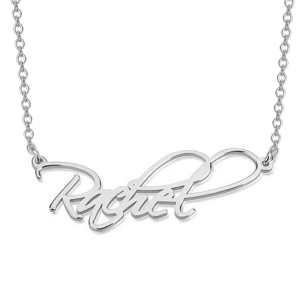 "Rachel - 925 Sterling Silver Personalized Classic Script Name Necklace Adjustable 16""-20"""