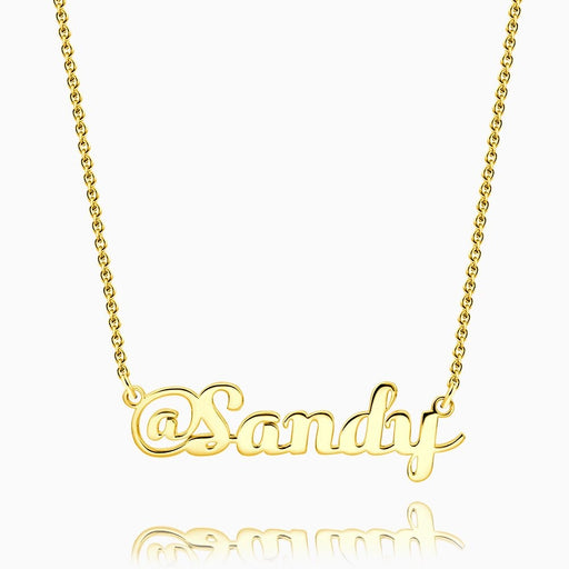 Personalized Sterling Silver @ Name Necklace Yellow Gold Plated