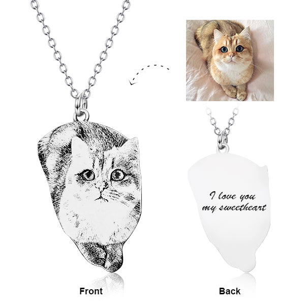 "Personalized Pets Photo Engraved Necklace Adjustable 16""-20"" in 925 Sterling Silver"