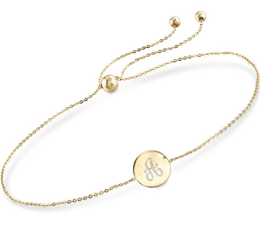 "925 Sterling Silver Personalized Single Initial Circle Disc Bracelet Length Adjustable 6""-7.5"""