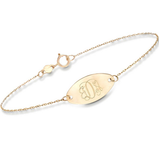 "14K Gold Personalized Oval Disc Bracelet Length Adjustable 6""-7.5"""