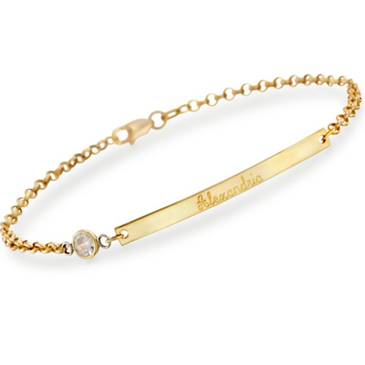 "14K Gold Personalized Name Bar ID Bracelet Length Adjustable 6""-7.5"""