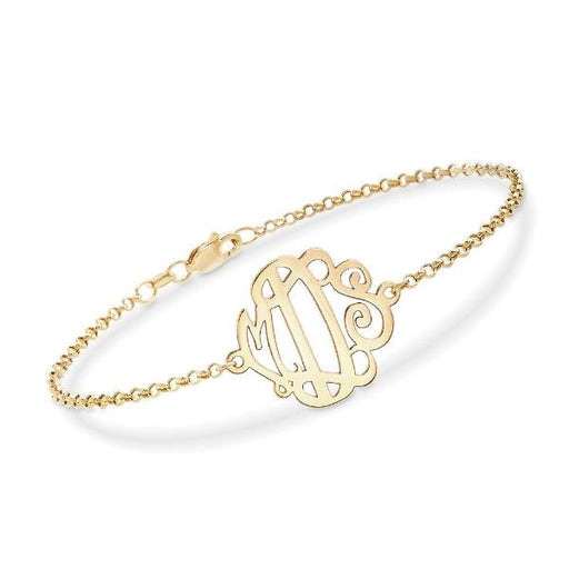 "14K Gold Personalized Monogram Bracelet Length Adjustable 6""-7.5"""