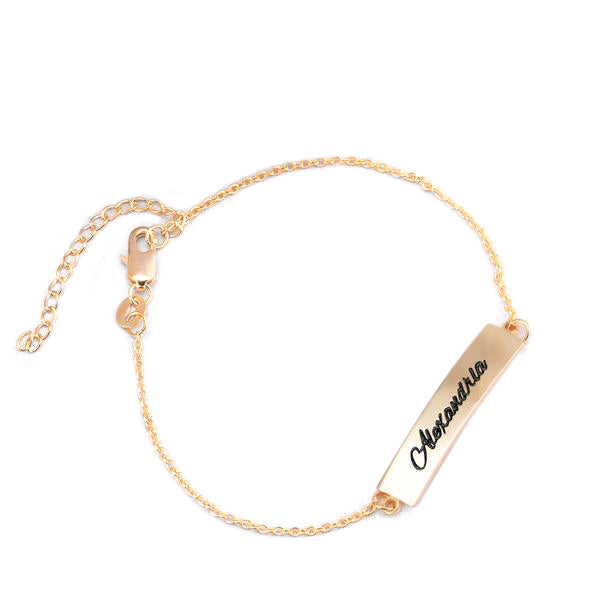 "Copper/925 Sterling Silver Personalized Name Bar Anklet Length Adjustable 8.5""-10"""