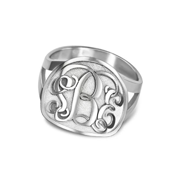 925 Sterling Silver Personalized Multi-Finish Circle Split Shank Monogram