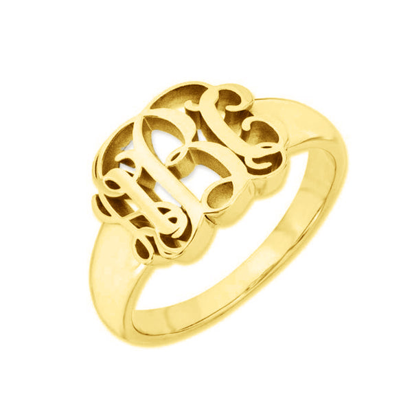 10K/14K Gold Personalized Script Monogram Signet Ring