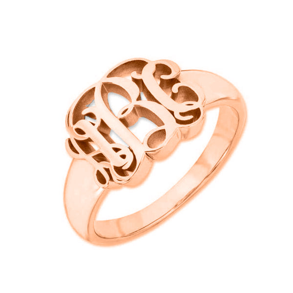 Copper/925 Sterling Silver Personalized Script Monogram Signet Ring