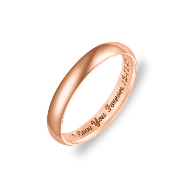 Copper/925 Sterling Silver Personalized Low Dome Engraved Ring