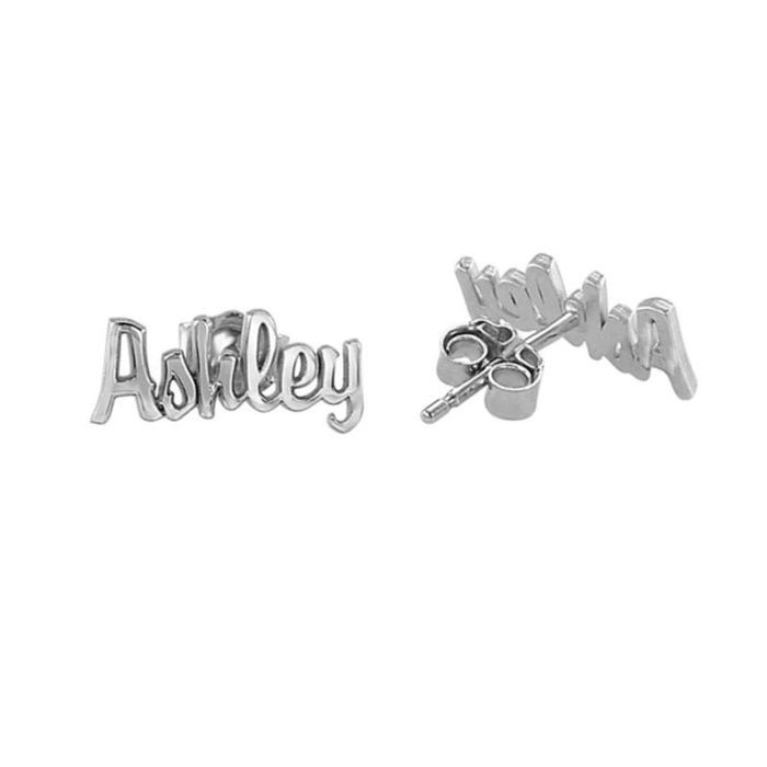 10K/14K Gold Personalized Script Name Stud Earrings