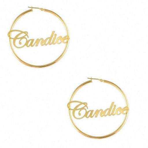 10K/14K Gold Personalized Script Name Hoop Earrings