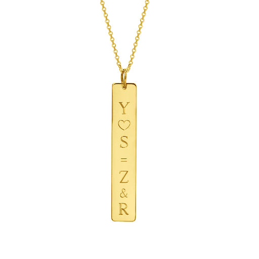 "14K Gold Personalized Vertical Nameplate Necklace Adjustable 16""-20"""