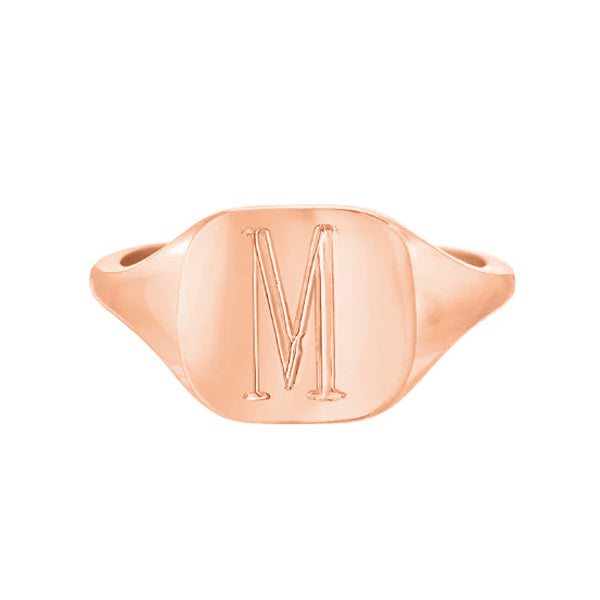 Copper/925 Sterling Silver Personalized Engraved Square Signet Ring