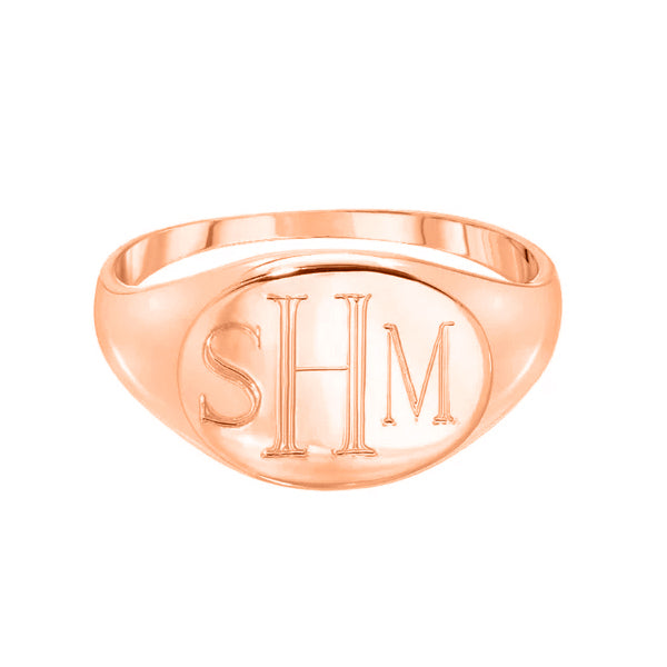 Copper/925 Sterling Silver Personalized Engraved Signet Ring
