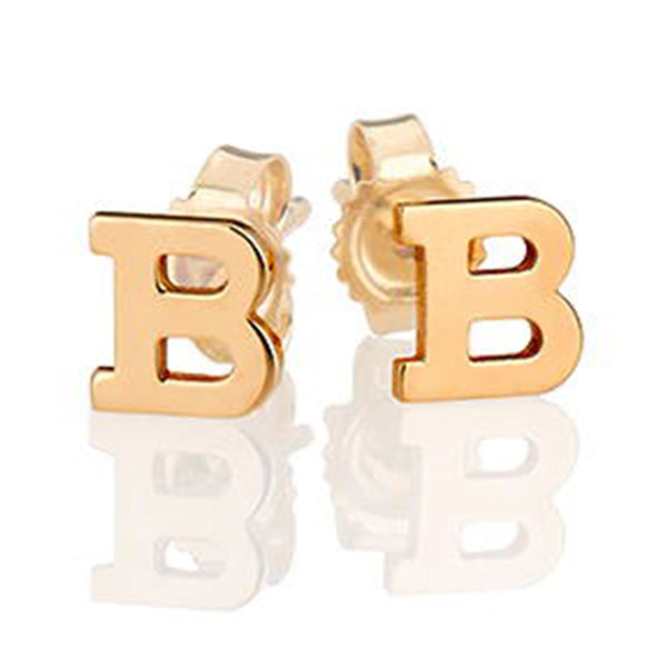 925 Sterling Silver Personalized Initial Stud Earrings