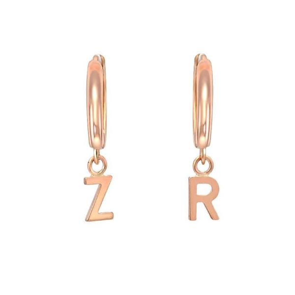 Copper/925 Sterling Silver Personalized Small Hoop Earrings With Letters