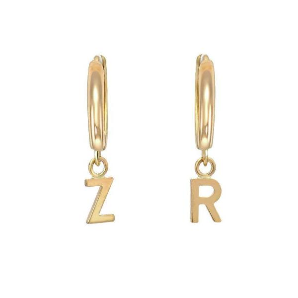 10K/14K Gold Personalized Small Hoop Earrings With Letters
