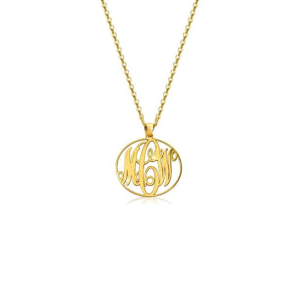"925 Sterling Silver Personalized Circle Monogram Necklace Adjustable 16""-20"""