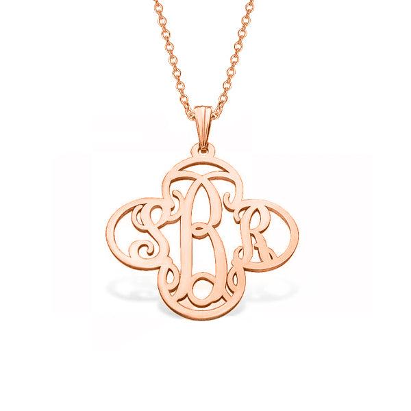 "14K Gold Personalized Cross Monogram Pendant Necklace Adjustable 16""-20"""