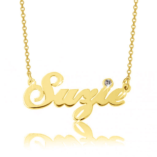 "14K Gold Personalized Crystal Name Necklace  Adjustable 16""-20"""