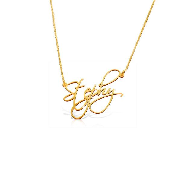 "925 Sterling Silver Personalized Handwriting Necklace with Name Adjustable 16""-20"""