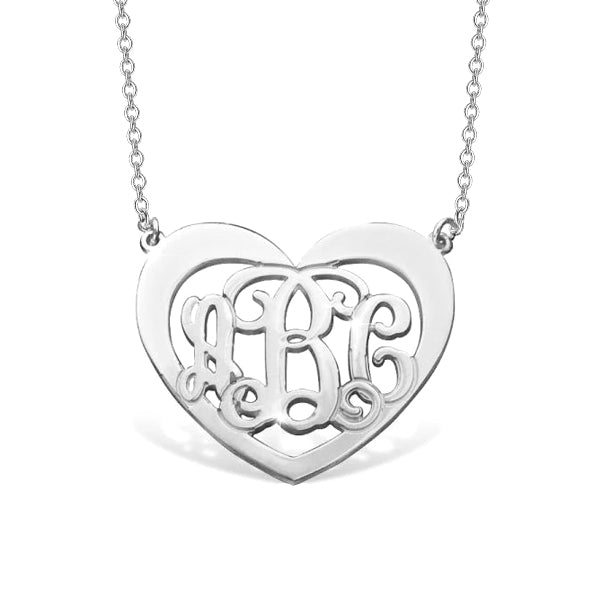 "Copper/925 Sterling Silver Personalized Heart Monogram Necklace with Name Adjustable 16""-20"""