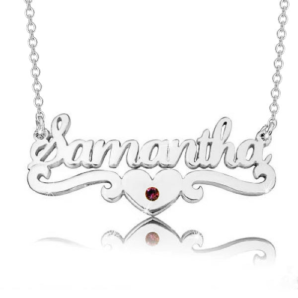 "14K Gold Personalized Samantha Style Heart Name Necklaces Adjustable 16""-20"""