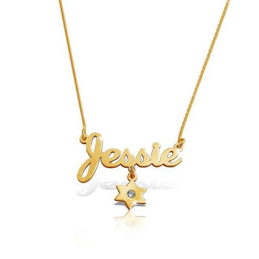 "Copper/925 Sterling Silver Personalized  Star Birthstone Charm Name Necklace Adjustable 16""-20"""