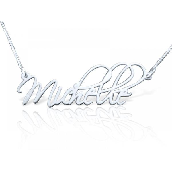 "925 Sterling Silver Personalized Artistic Style Name Necklace Adjustable 16""-20"""